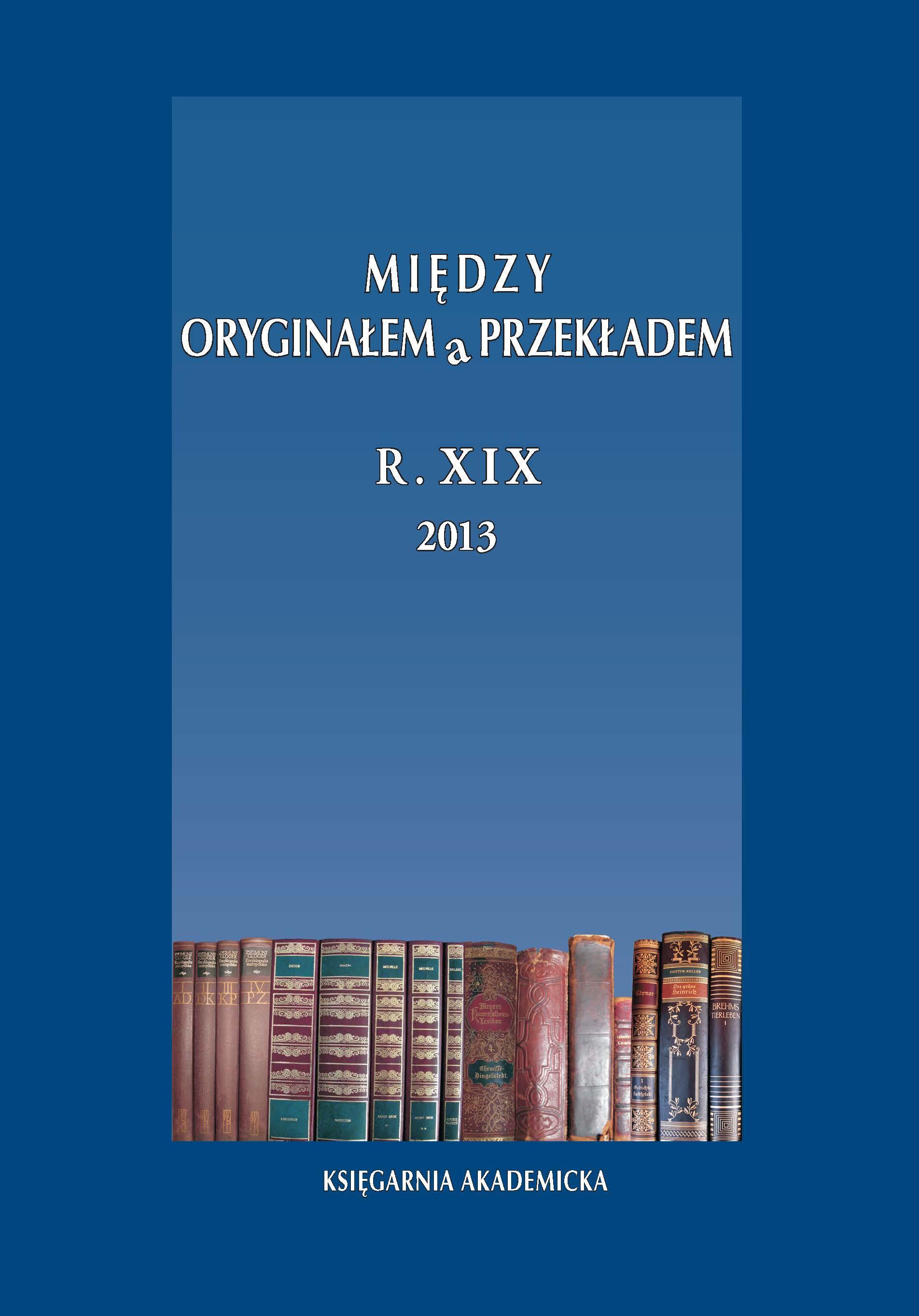 View Vol. 19 No. 1/2(19/20) (2013): Dydaktyka przekładu